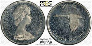 1967-CANADA-GOOSE-SILVER-1-DOLLAR-PCGS-PL64CAM-VERY-RARE-IN-CAMEO
