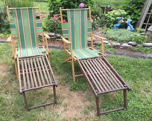 Details about Qty 2 Vintage Telescope Wood Folding Ship Deck Lawn Chairs ~  Parts Repair ~Nice!