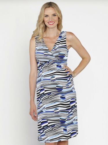 Crossover Jersey Dress Blue Prints