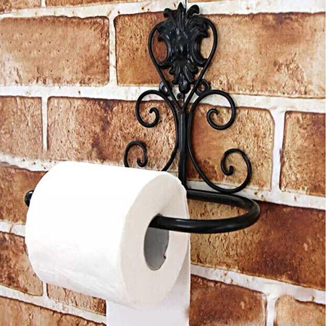 Vintage Iron Toilet Paper Towel Roll Holder Bathroom Wall Mount Rack