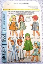 """9061 VINTAGE McCALLS SEWING PATTERN~UNCUT 1967~BABY/TODDLER 17""""-20"""" DOLL CLOTHES"""