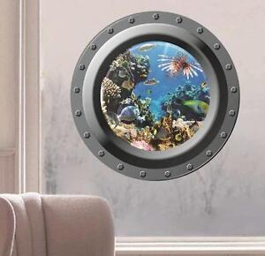 3d Round Window Submarine Art Home Decor Kids Room Wall
