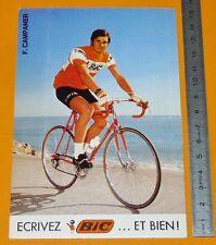 RARE CARTE CYCLISME 1972 EQUIPE BIC FRANCIS CAMPANER TOUR DE FRANCE COUREUR