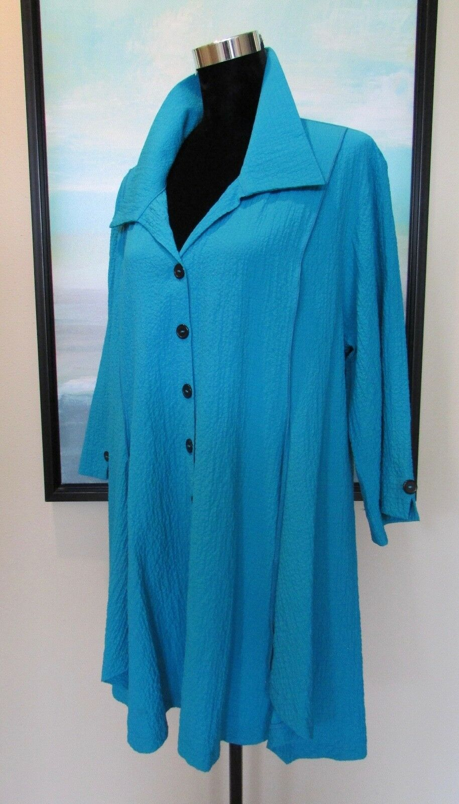 Moonlight Y & S Collection Turquoise Long Tunic Top Sz XXL