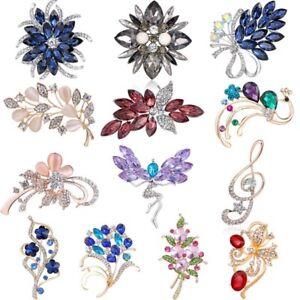 Flower-Rhinestone-Brooch-Pin-Women-s-Wedding-Bridal-Bouquet-Crystal-Jewelry-Gift