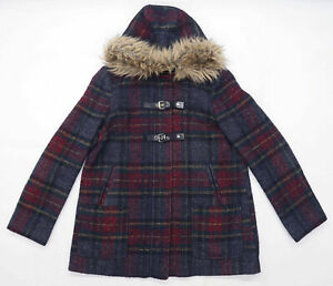New Look Womens Size 14 Check Multi-Coloured Faux Fur Duffel Coat