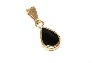 9ct Gold Black Onyx Teardrop Pendant F6XWk