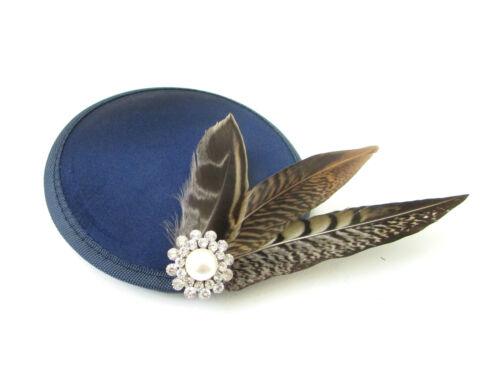 Navy Blue Brown Pheasant Feather Fascinator Silver White Races Vtg Hair Clip 8AG