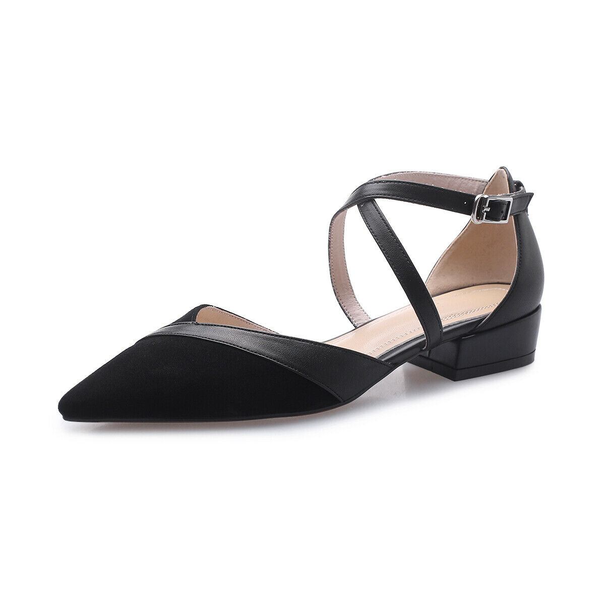 Womens Grace Pumps Solid Leather Pointy Toe Low Heel Buckle Casual Party shoes