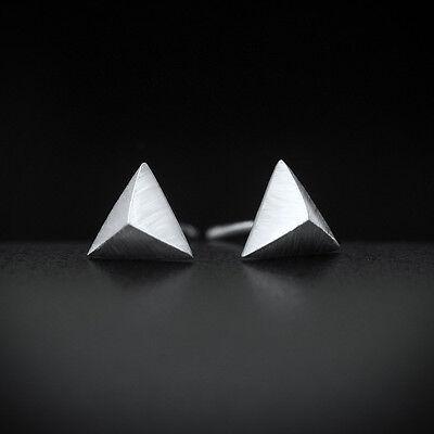 Ohrstecker Dreieckige Pyramide Niete Echt Sterling Silber 925 Damen Herren