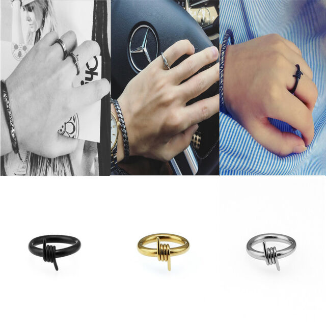 Barbed Wire Handmade Couple Lover's Ring Punk Valentine's Day Gift for Men Women