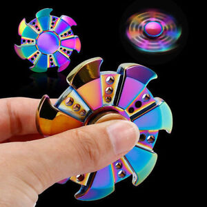 6 Point Brass Hand Spinner Tri Fidget Focus Toy Gyro Adult ADHD Autism Rose Gold