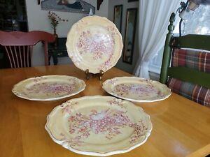 "Maxcera Corp 11"" Dinner Plate Rose Toile Set of 4 EUC"