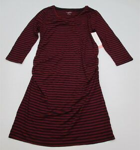 new-LIZ-LANGE-MATERNITY-DR1025-Women-039-s-Size-L-Fitted-Bodycon-Red-Striped-Dress