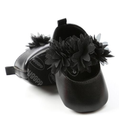 Enfant Fille Fleur Princess Crib Chaussures en cuir baptême prewalkers