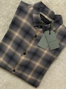 ALL-SAINTS-MEN-039-S-BROWN-CHECK-034-MULVEY-034-LONG-SLEEVE-SHIRT-TOP-XS-amp-S-NEW-TAGS