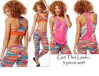 ZUMBA 3Pc.SET! Treaded Capri Leggings+Mid L VBra +Bubble Top*EliteZWear S M L XL
