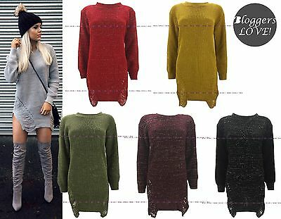 Womens Laurex Frayed Sweater Top Ladies Distressed Ripped Knitted Jumper Dress