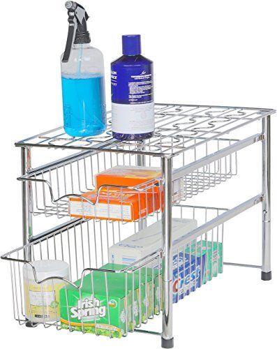 Under The Sink Slide-Out Cabinet Drawer Storage Organizer 2 Tier Bathroom Home