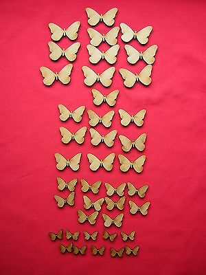 ASSORTED  MDF BUTTERFLY x 40   LASER CUT MDF WOODEN CRAFT SHAPE