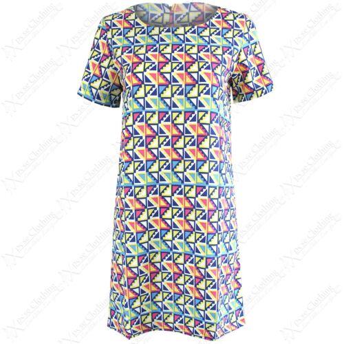 NEW LADIES BRIGHT TRIANGLE PRINT DRESS WOMENS MINI TUNIC CELEB LOOK DRESSES TOP