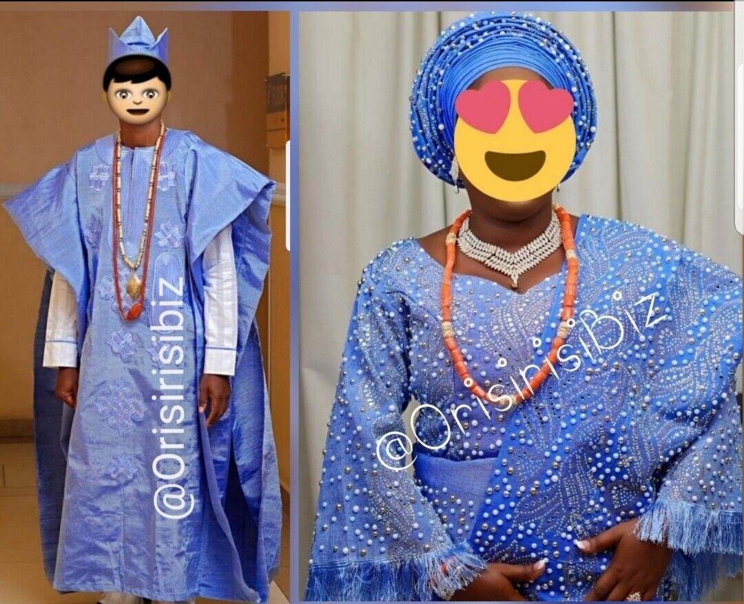 Aso Oke Agbada Fila cap Men & Bride Iro Buba Gele Ipele & Combo