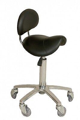 Joiken Black & Chrome Saddle Stool With Back - Australian Seller