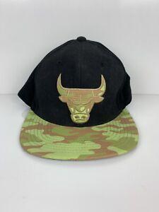 Vintage Chicago Bulls Mitchell & Ness Snapback Hat NBA Basketball Camo Print