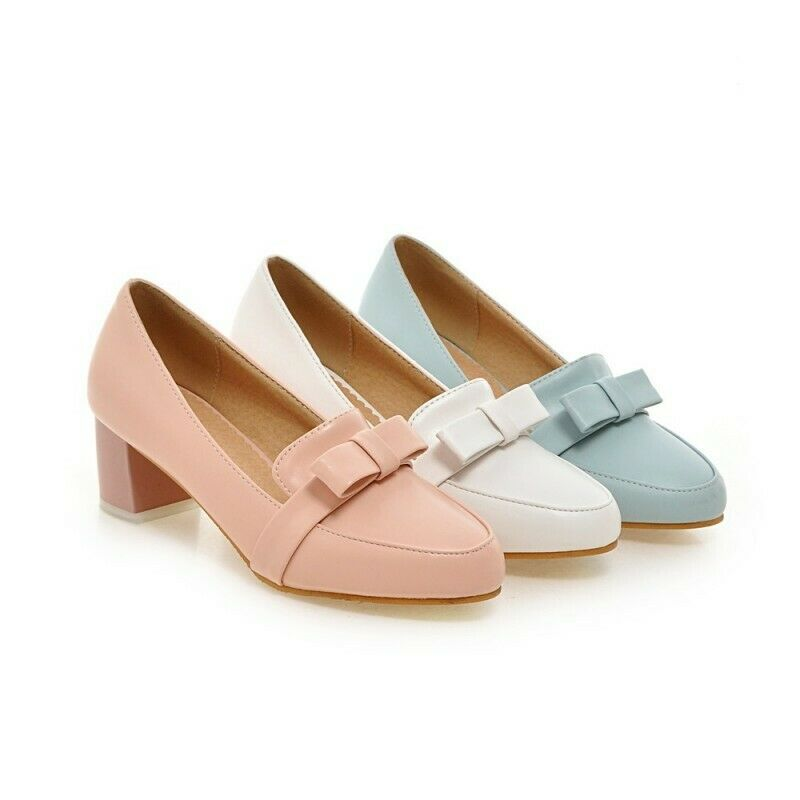 Bowknot Womens Round Toe Pump Sweet OL Sweet Lolita Mid Block Heel shoes 4-11.5