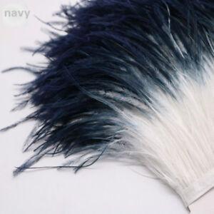 Two-tone-Fluffy-Ostrich-Feather-Trimming-Fringe-Ribbon-Cloth-Decor-Craft-Fashion