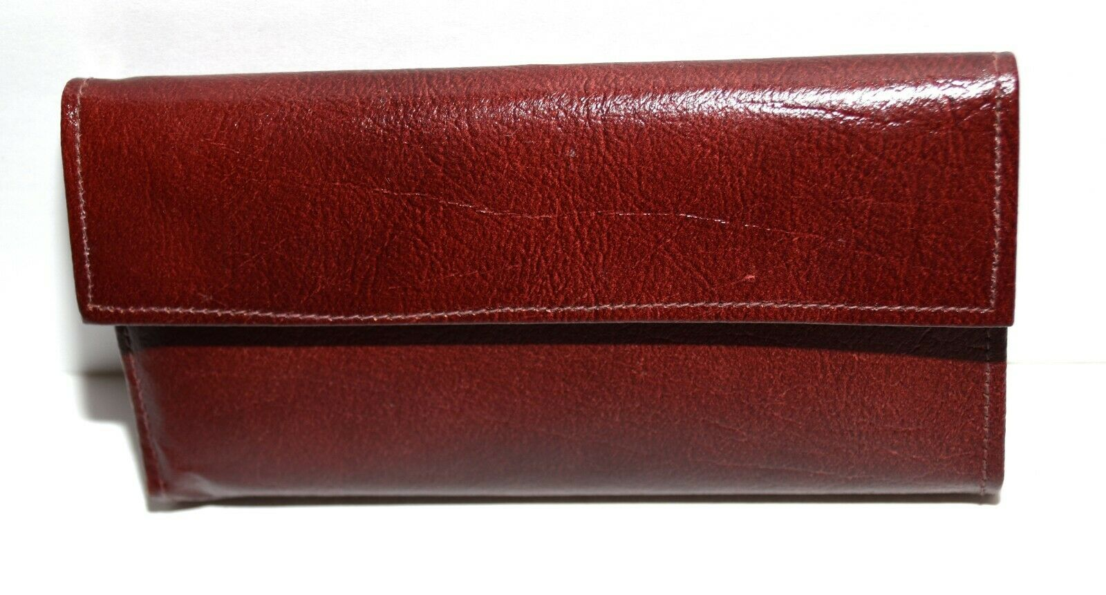 Burgundy Leather with Attached Kisslock Coin Purse Organizer Checkbook Wallet
