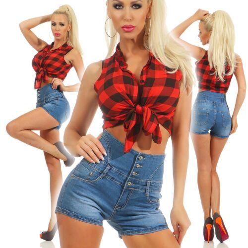 10786 Damen Jeans Hotpants Denim Shorts kurze Hose Hot Pants Jeans High-Waist