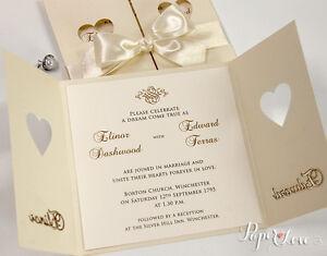 Wedding Invitations Day Heart Cream Gatefold Satin Ribbon Laser Cut