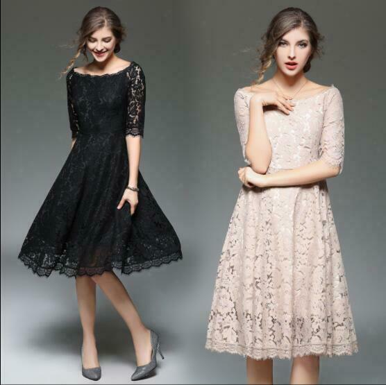 Womens Off Shoulder Fashion Lace Hollow Out High Waist Even Dress Half Sleeve