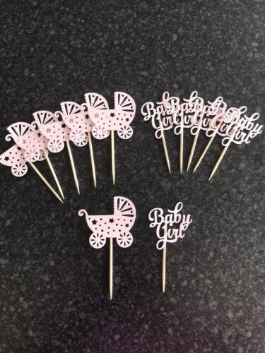 12 X Baby Girl Pink New Arrival Cup Cake Food Pick Toppers