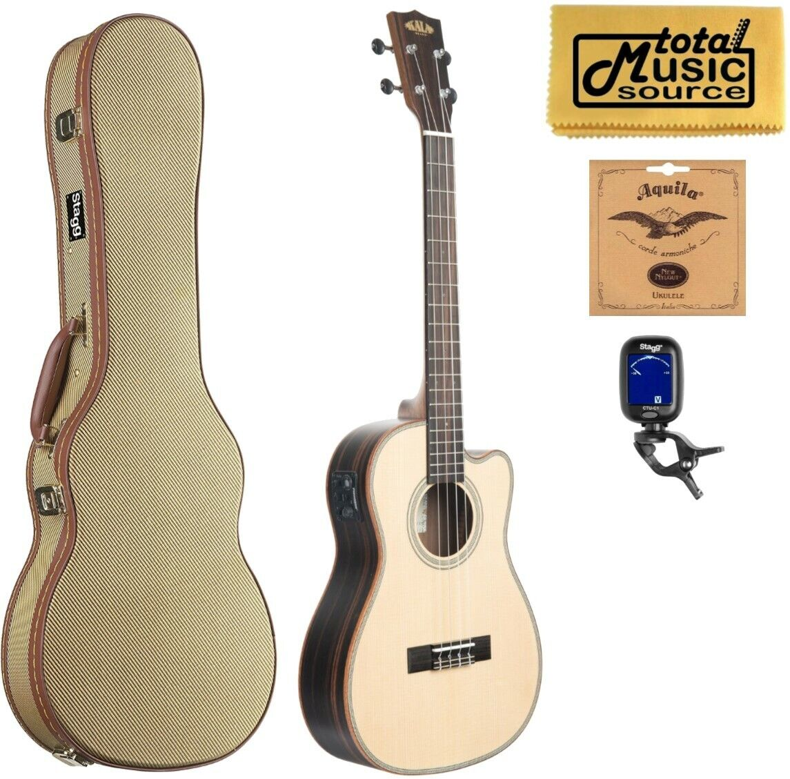 Kala KA-SSEBY-B-CE Spruce Top, Bariton A E Ukulele, W  Tweed Case Bundle