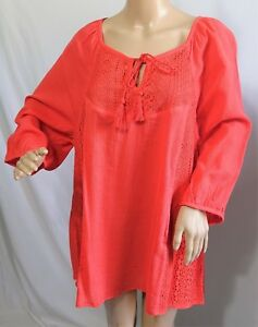 678eb74efaf2b Catherines Women Plus Size 1x 18 20W Coral Lace Tunic Top Blouse ...