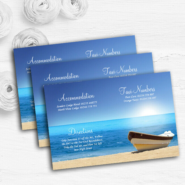 Beach Married Abroad Personalised Wedding Guest Information Cards