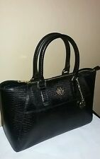 DKNY SUTTON BRYANT PARK LIZARD LEATHER PRINT SATCHEL HANDBAG PURSE BLACK  $300.