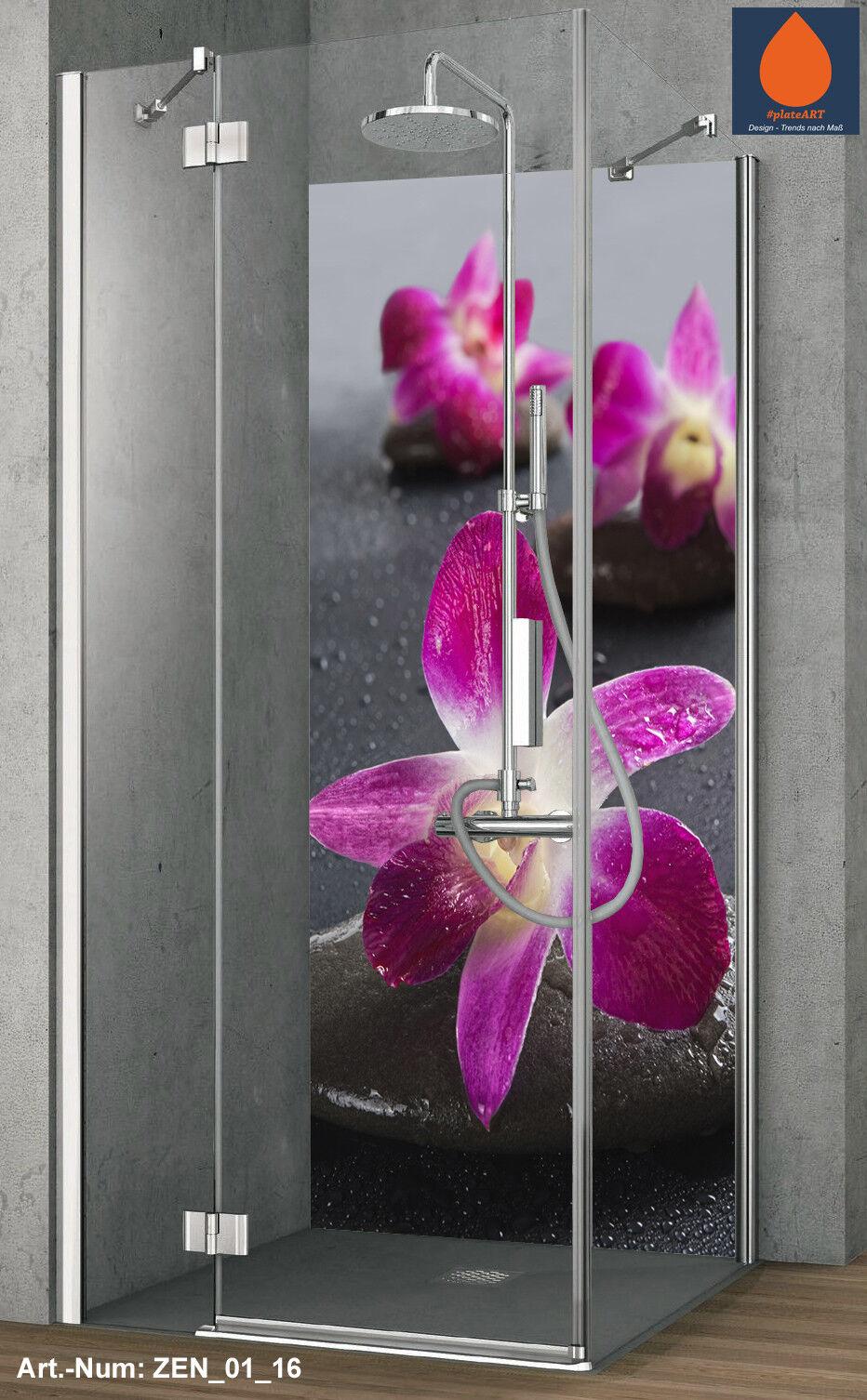 Coin duschrückwand Mur Arrière douche alu, Carreaux de Zen rechange, Zen de Pierres Fleur Motif b8d22a