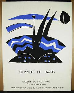 Affiche Originale Olivier Le Bars C 1970 Galerie Du Haut-pavé Sur Papier Vergé