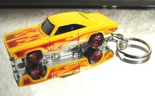 2015 Hot Wheels '69 Dodge Charger Dukes of Hazard Flames Custom Key Chain Ring!