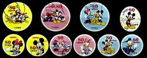 JAPAN-2012-DISNEY-CHARACTERS-MICKEY-80-YEN-COMPLETE-SET-OF-10-STAMPS-FINE-USED