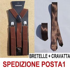 BRETELLE-CRAVATTA-SLIM-5cm-UOMO-ADULTO-REGOLABILI-CRAVATTINO-MARRONE-CHIARO