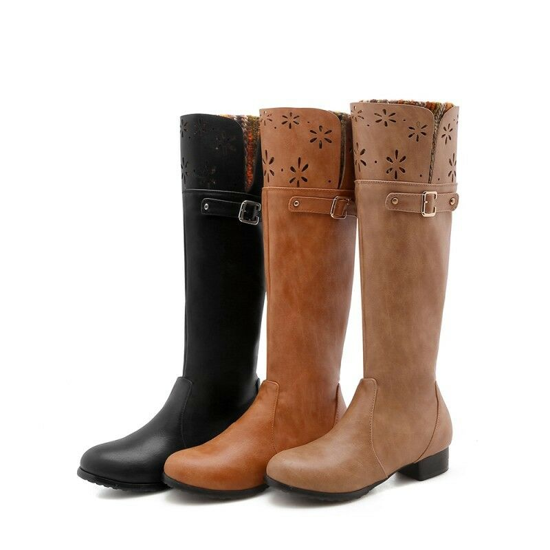 Womens Vintage Winter Round Toe Buckle Strap Block Heel Knee High Knight Boots