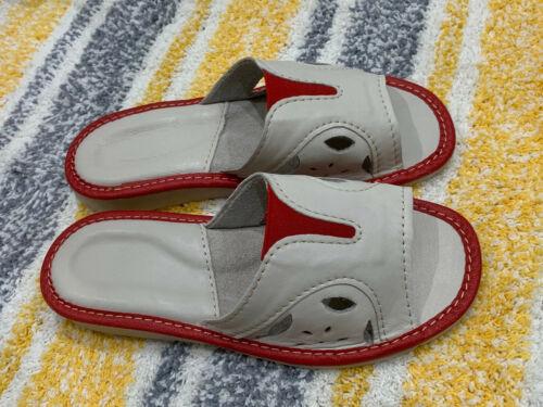 In Pelle Slip On Wide Fit Donna Ciabatte Cream Beige Rosso Più taglie 4 5 6 7 8 9