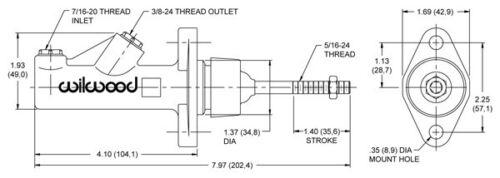 "Wilwood Cylindre de Frein et Embrayage Cylindre sans conteneur 3//4/"" 0,75/"" 19,05mm"