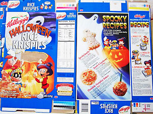 1999 Rice Krispies Halloween Cereal Box unused factory Flat shm262 ...