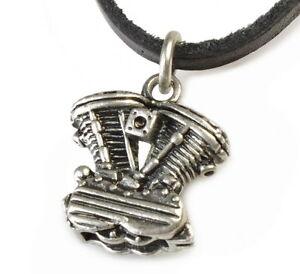 N79-Herren-Halskette-Lederkette-V-ZYLINDER-Biker-Chopper-Leather-Necklace-Men