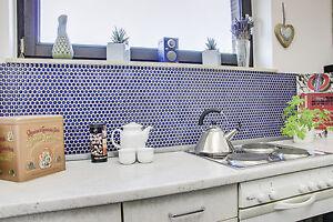 Keramik Mosaik Fliesenspiegel Küche Knopf kobaltblau glänzend 10 ...